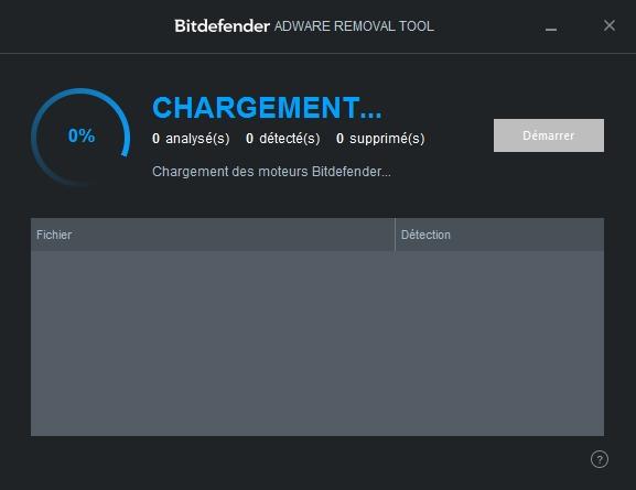 Capture d'écran Bitdefender Adware Removal Tool