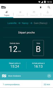 Capture d'écran SNCF