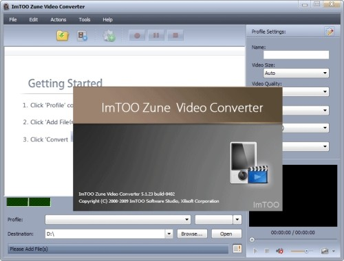 Capture d'écran ImTOO Zune Video Convertisseur