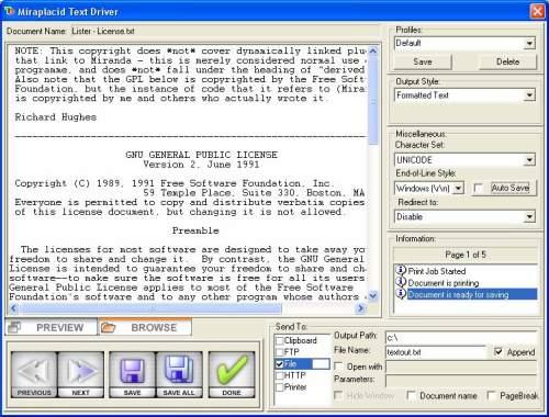 Capture d'écran Miraplacid Text Driver