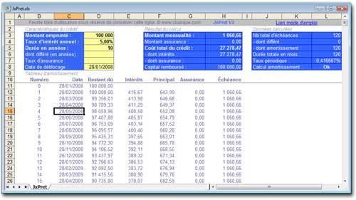 Capture d'écran JxPret Calcul Crédit Excel