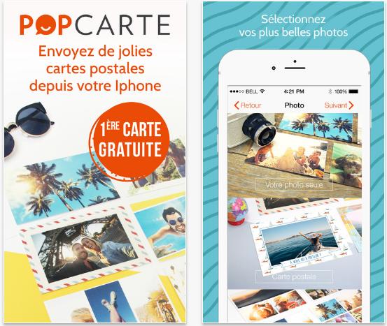 Capture d'écran Popcarte iOS