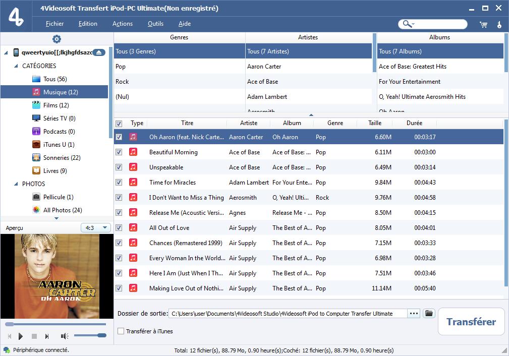 Capture d'écran 4Videosoft Transfert iPod-PC Ultimate