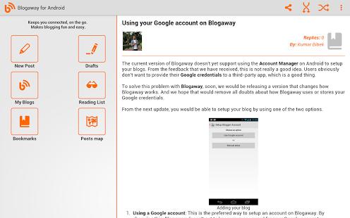 Capture d'écran Blogaway for Android (Blogger)