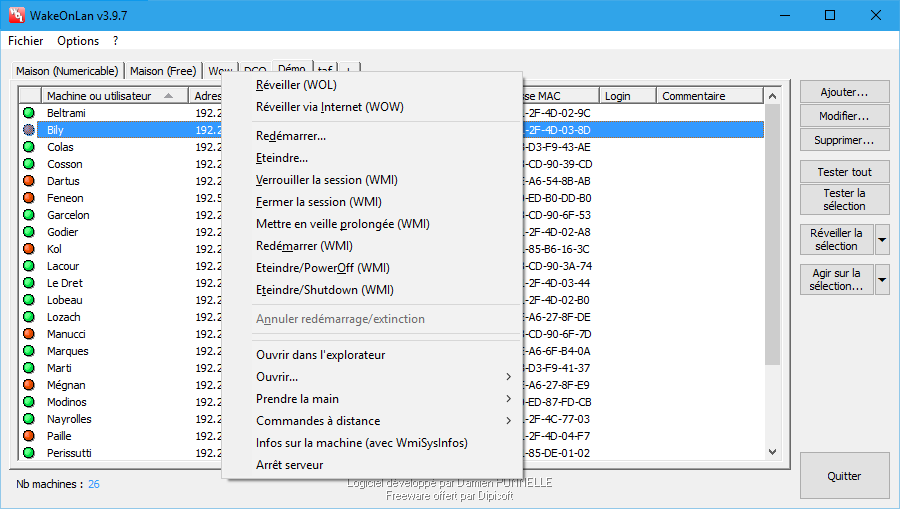 Capture d'écran WakeOnLan v3.9.7