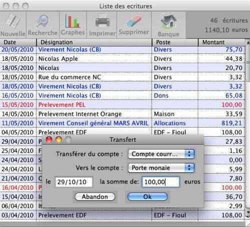 Capture d'écran Ibudget Linux