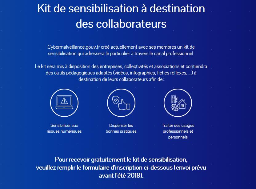 Capture d'écran Kit de sensibilisation à destination des collaborateurs