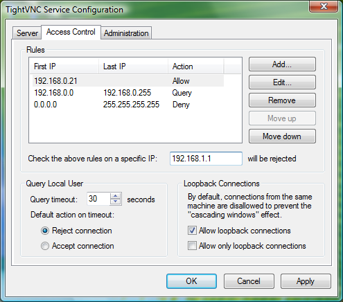 Capture d'écran TightVNC
