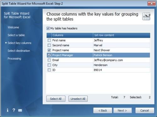 Capture d'écran Split Table Wizard for Microsoft Excel