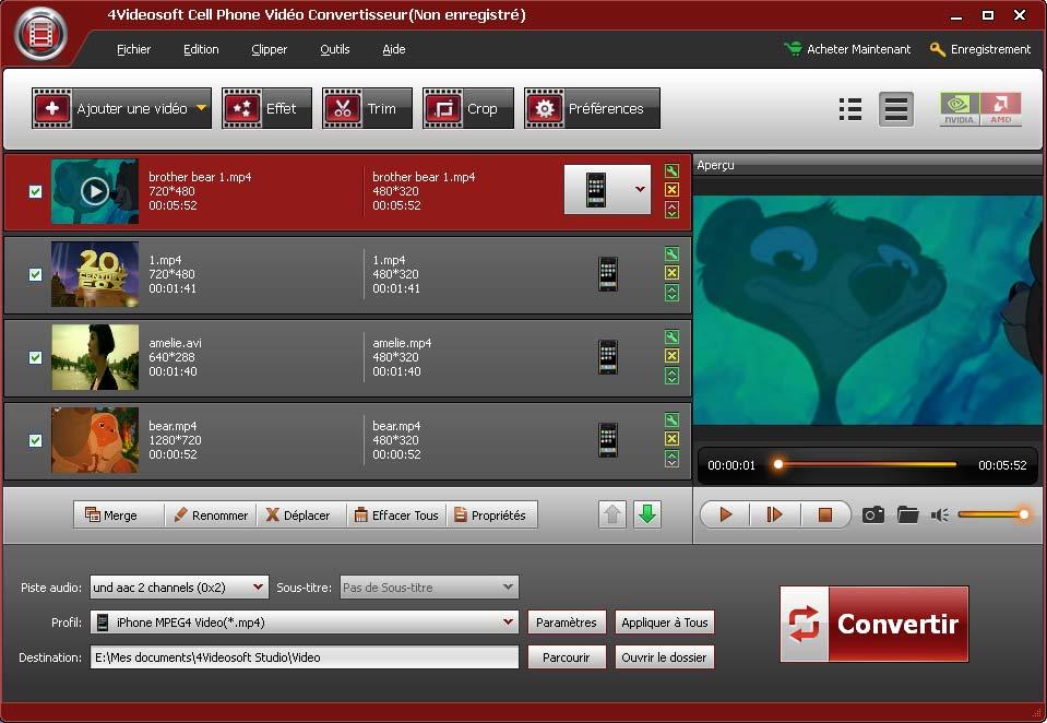 Capture d'écran 4Videosoft CellPhone Vidéo Convertisseur