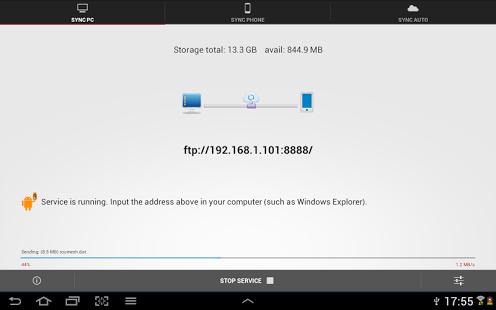 Capture d'écran Software Data Cable