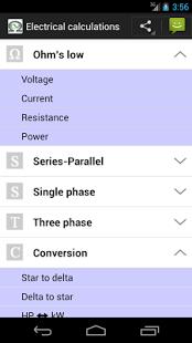 Capture d'écran Electrical Calc