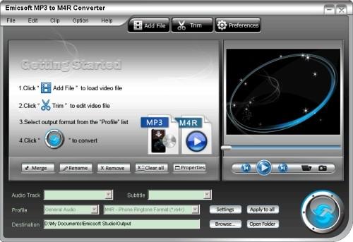 Capture d'écran Emicsoft MP3 en M4R Convertisseur