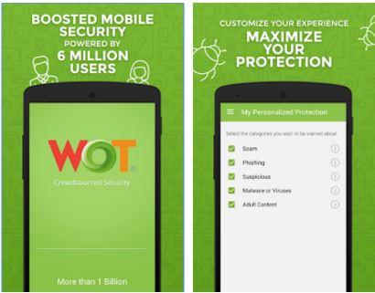 Capture d'écran WOT Mobile Security Android