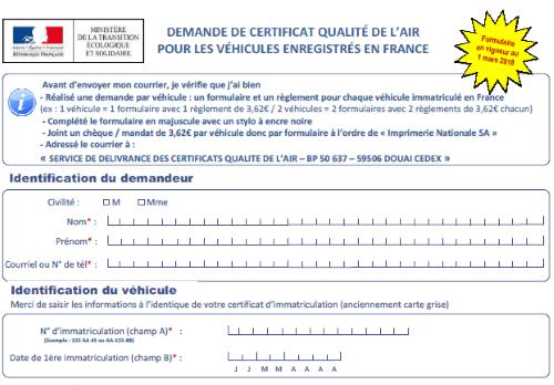 Capture d'écran Formulaire de demande de certificat qualité de l'air pour les véhicules enregistrés en France