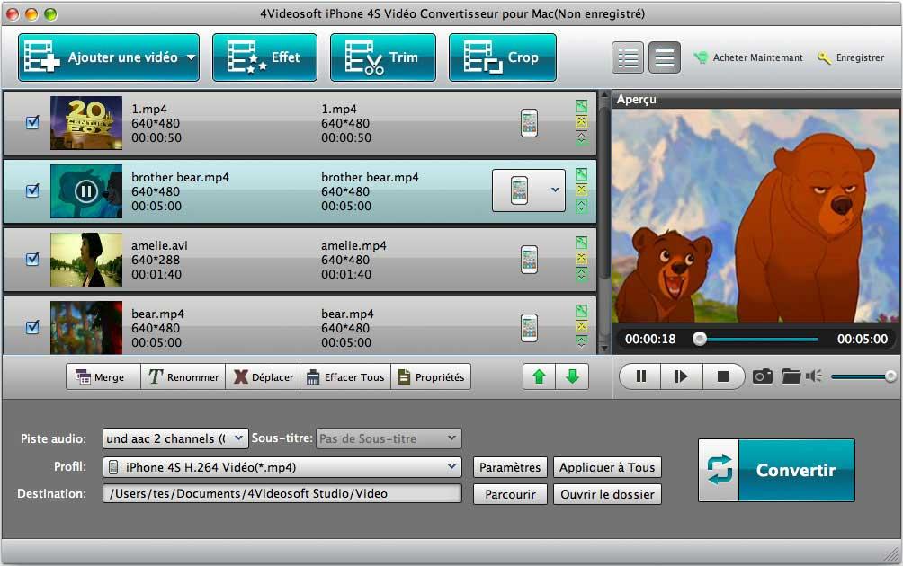 Capture d'écran 4Videosoft iPhone 4S Vidéo Convertisseur pour Mac