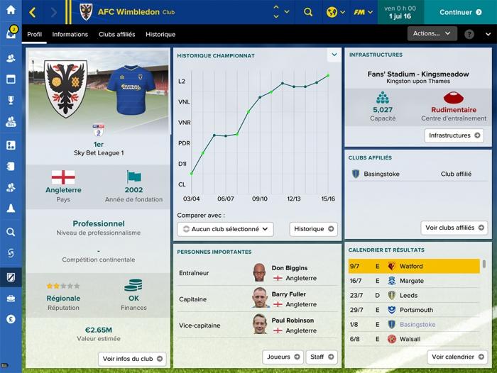 Capture d'écran Football Manager Touch 2017 Linux