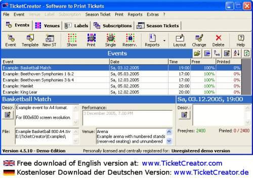 Capture d'écran TicketCreator – Créez et imprimez vos billets d'entrée