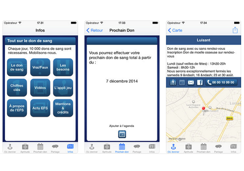 Capture d'écran Don de Sang iOS