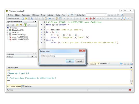Capture d'écran EduPython