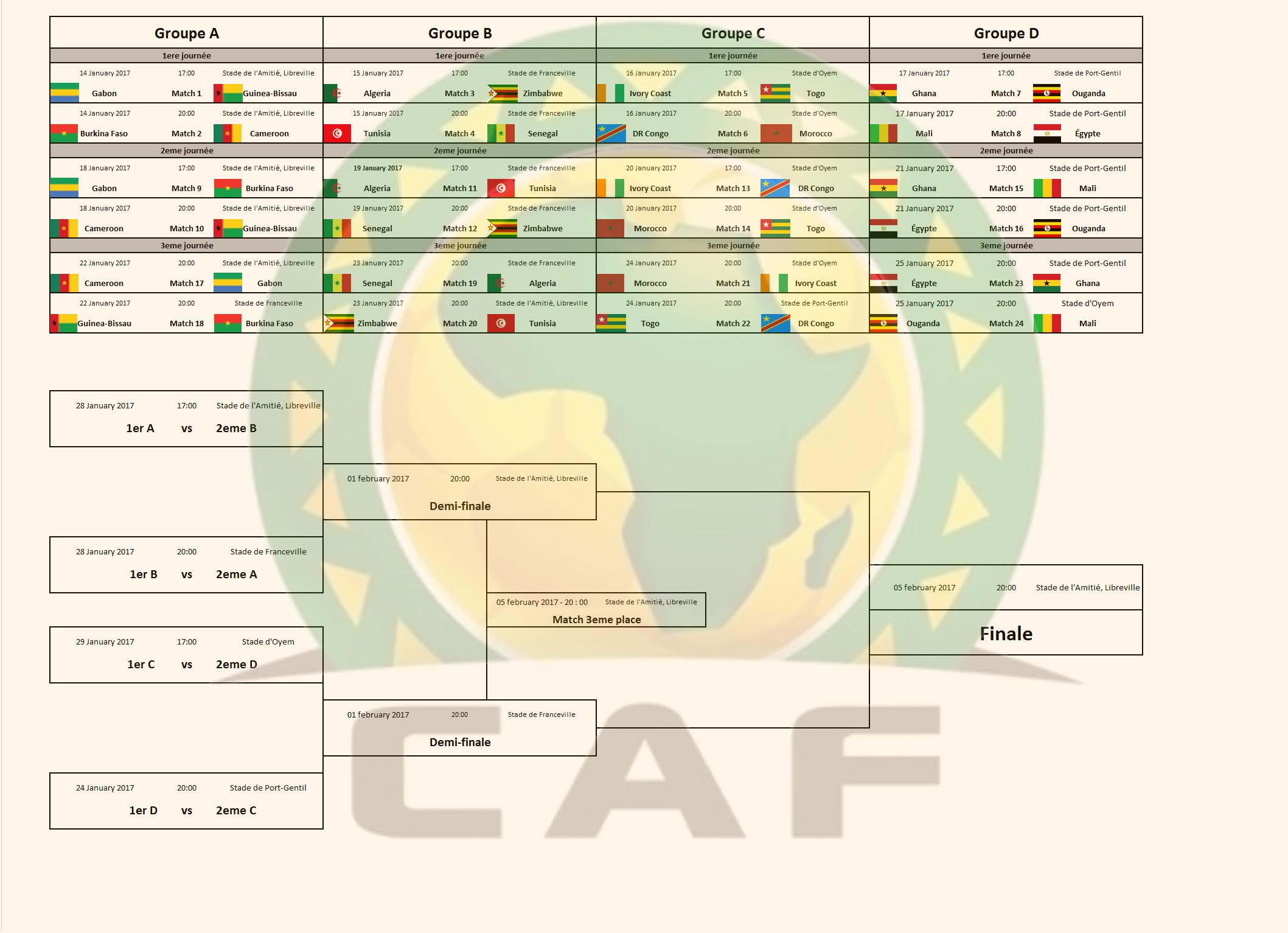 Capture d'écran Calendrier coupe d'Afrique des Nations 2017