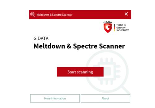 Capture d'écran GDATA Meltdown et Spectre Scanner