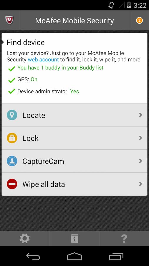 Capture d'écran McAfee Mobile Security