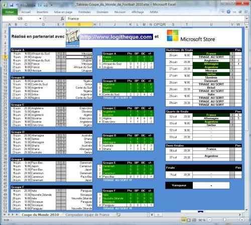 Capture d'écran Coupe du Monde 2010 de foot – Gestion des pronostics