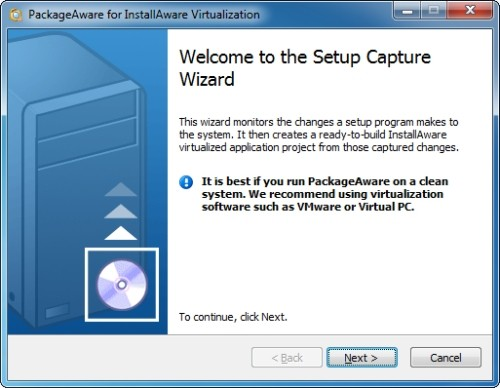 Capture d'écran InstallAware Application Virtualization