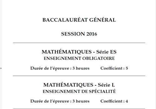 Capture d'écran Bac 2016 Mathématiques Séries L et ES