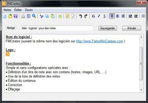 Capture d'écran FMCnotes