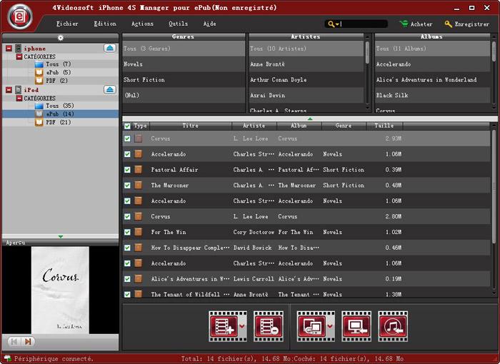 Capture d'écran 4Videosoft iPhone 4S Manager pour ePub