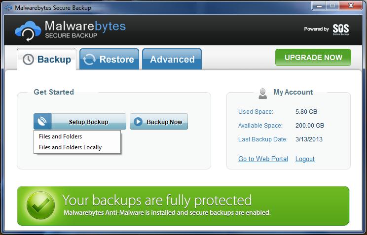 Capture d'écran Malwarebytes Secure Backup