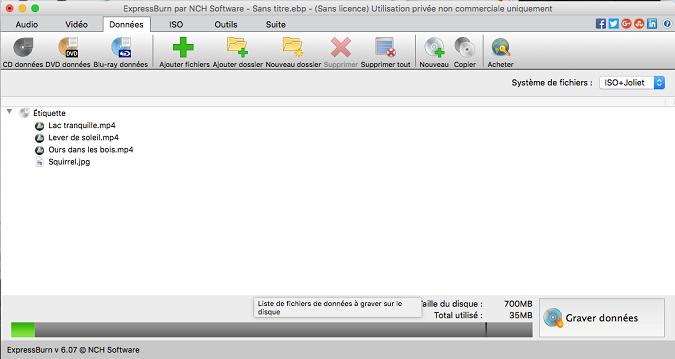 Capture d'écran Express Burn – Logiciel de gravure pour Mac