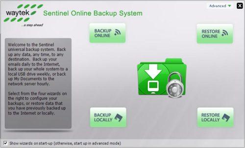 Capture d'écran Sentinel Online Backup