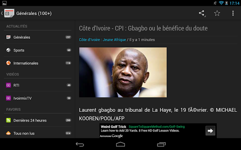 Capture d'écran Abidjan News (Actus et Vidéos)