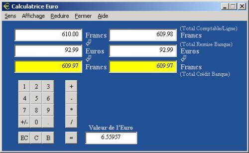 Capture d'écran Calculatrice Euro
