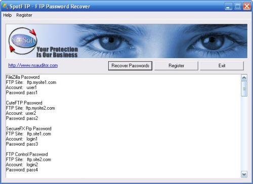 Capture d'écran SpotFTP Password Recover