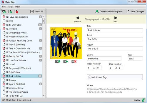 Capture d'écran Music Tag