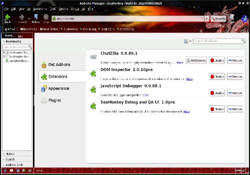 Capture d'écran SeaMonkey Linux