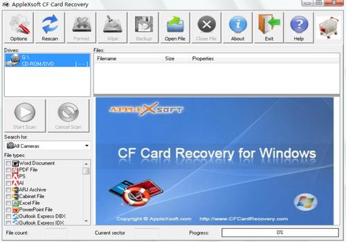 Capture d'écran CF Card Recovery