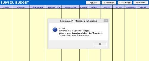 Capture d'écran ADP Budgets