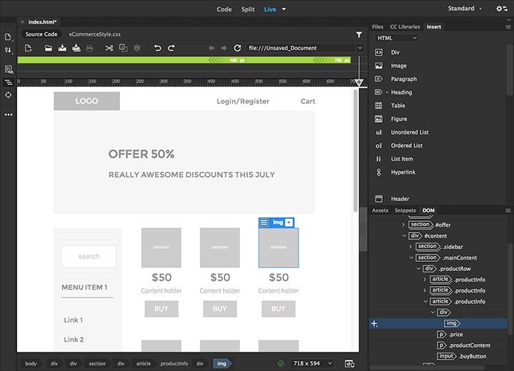 Capture d'écran Adobe Dreamweaver