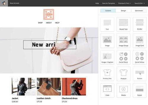 Capture d'écran MailChimp