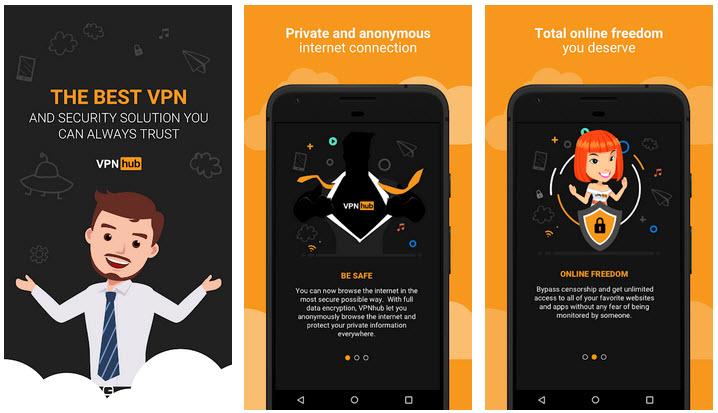 Capture d'écran VPNHub Android