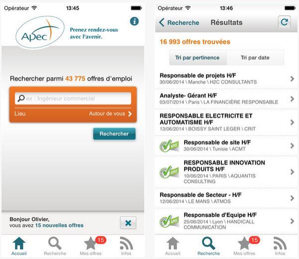 Capture d'écran Apec iOS