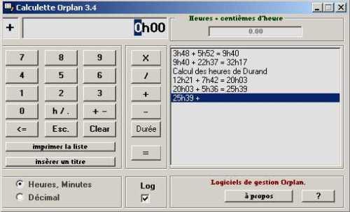 Capture d'écran Calculette Orplan