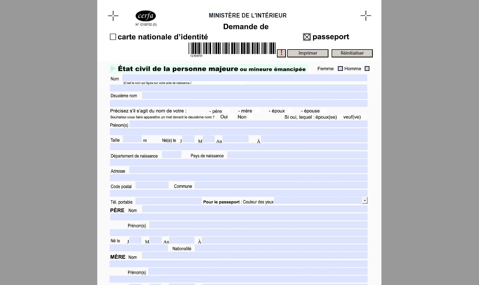 Capture d'écran Formulaire demande de passeport
