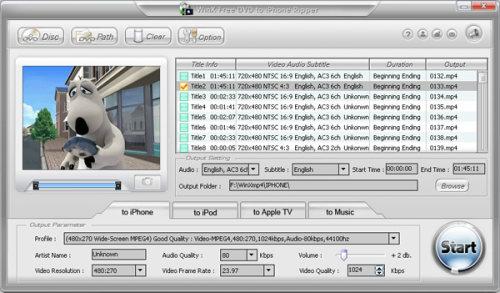 Capture d'écran WinX Free DVD to iPhone Ripper