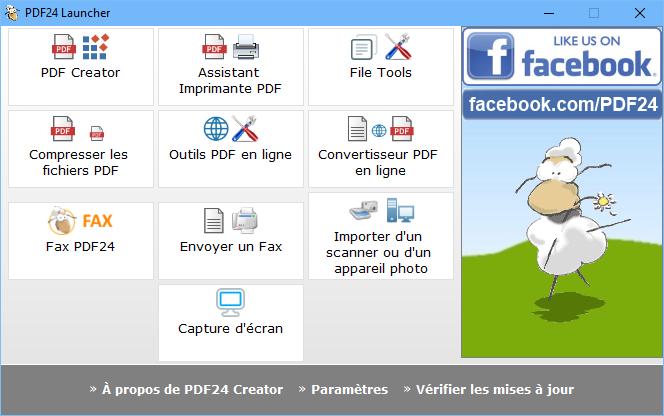 Capture d'écran PDF24 Creator